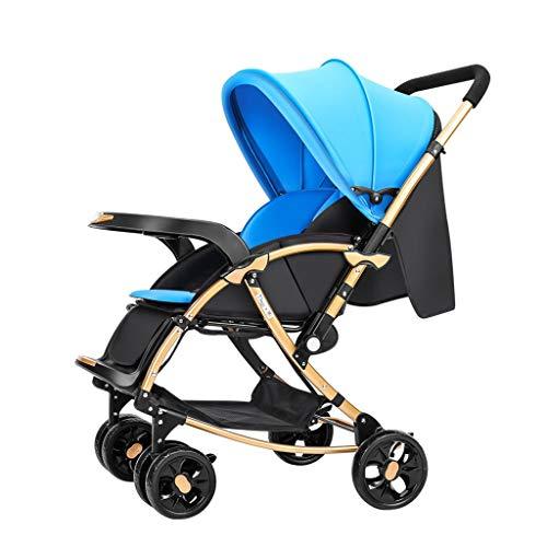 MILU 0-3 Jahre Alte Tragbare Kinderwagen Zwei-Wege-Kinderwagen Kann Sich Hinlegen Um Sich Hinlegen Leistungsstarke Stoßdämpfung Atmungsaktive Baby Baby Kinderwagen (Farbe : Blau)