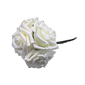 BestOfferBuy 50 Rose di Spugna DIY Craft Bouquet Decorazione matrimonio e Casa 7cm Bianco