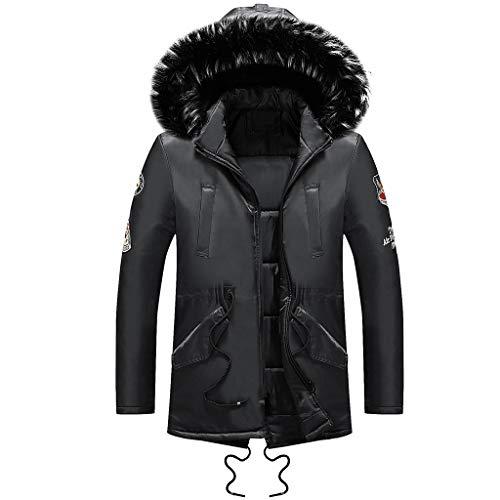 Amphia - Mantel mit Kapuze für Herren - Männer Winter Langarm Tasche Pelzkragen Mit Kapuze Outwear Jacke Mantel Plus Größe
