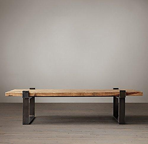Lzz Table Basse Moderne en Bois Massif Simple Table à Manger Vintage en Fer Rétro Table à café Américaine de Style Industriel (Taille : 45*45*50cm)