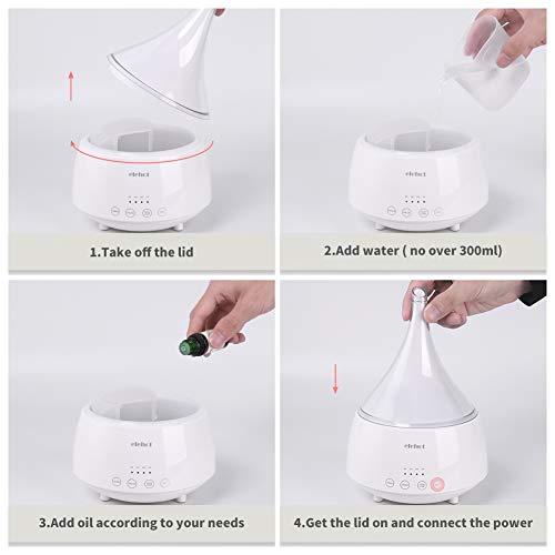 Humidificador-Aceites-Esenciales-300ml-Difusor-Aromaterapia-Ultrasonico-con-Modos-Ajustables-de-humedadColores-LED-y-Temporizadores-Ambientador-Electrico-Botones-Tctilesbuen-regalo-de-ELEHOTblanco
