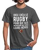 Dieu Créa Le Rugby T-Shirt Homme, XL, Gris Graphite