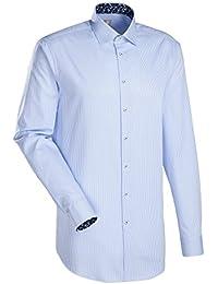 JACQUES BRITT Business Hemd Slim Fit Langarm Bügelleicht Streifen Businesshemd Kent-Kragen Manschette weitenverstellbar
