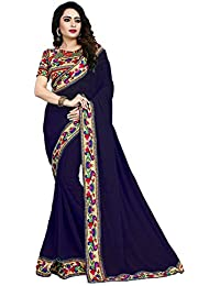 Modential Women's Chiffon Saree With Blouse Piece (Manbhari Navyblue, Navy Blue, Free Size)