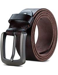Lychee Cintura Uomo in 100% Vera pelle,Fibbia in Metallo Classico Cinghia Cuoio Elegante per Casuale, Lavoro,con Portachiavi e Scatola Regalo
