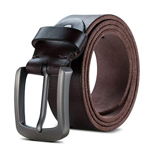 Lychee Cinturón para Hombre de Cuero Cinturón Piel Hebilla Automática Hombre,Perfecto Regalo,115CM Cinturones Elegantes para Pantalones Vaqueros, Casuales o Formales (Marrón, 115cm(cintura 35'-38'))