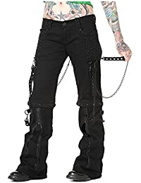 Womens Banned Corset Lace up Trousers Jeans Goth Punk Rock BLACK 8 10 12 14 16