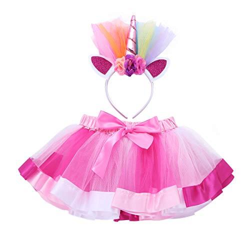 Tiaobug Regenbogen Tutu Rock, Einhorn Haarreif 2er Set Puffrock Ballettrock Unterrock Einhorn Kostüm Cosplay Tanz Party Verkleidung Outfits (110-116/5-6 Jahre, Rosa&Rose rot) (Kostüm Tutu, Clown)