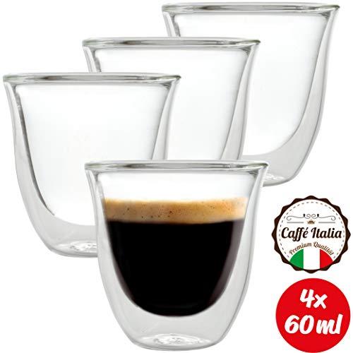 Caffé Italia Napoli 4 x Tasse Double Paroi 60 ML - Tasse Expresso 8 cl - Espresso en Verre - Coffret de 4 Tasses à Café Double Paroi - Cadeau Parfait pour Toute Occasion