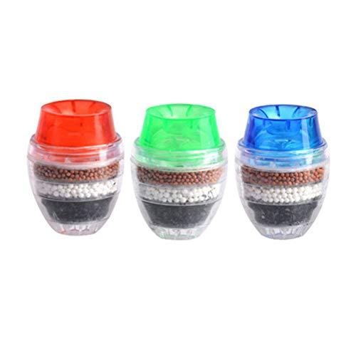 BESTONZON 3pcs Wasserhahn Reiniger Wasserfilter Aktivkohle Leitungswasser Wasserreiniger Küchenarmatur Filter Hahn (Zufällige Farbe) (Farbe Filter)