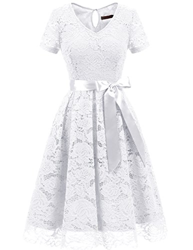 Dresstells Damen Spitzenkleid Herzform Elegant Cocktail Abendkleid White XL
