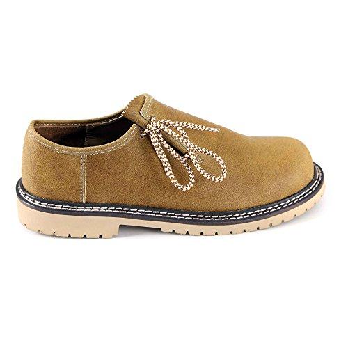 Almbock Trachtenschuhe braun camel - Größe 40 41 42 43 44 45 46, für Oktoberfest zur Lederhose, echt-Leder, leichte ausgefallene Haferl-Schuhe (Günstige Trachten Schuhe)