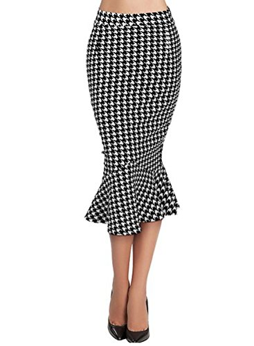Fordestiny Damen Kleid 1951er Zwei Stile Retro Polka Dots Hahnentritt Muster Party Fishtail Rock