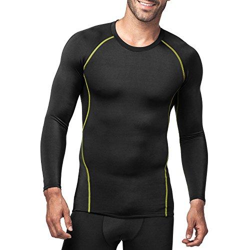 LAPASA Uomo Base Layers T Shirt Sportiva Compressione Seconda Pelle –Compressione GRADUALE Maniche Lunghe Running Palestra Fitness M17 Nero+Verde)