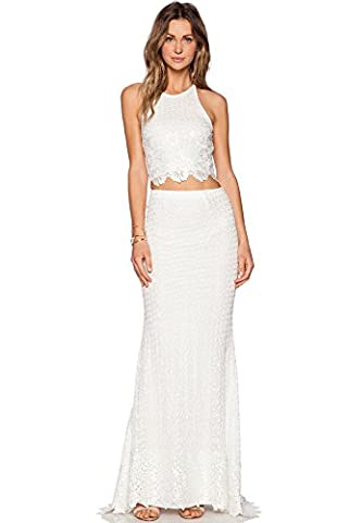 Ladies 2 Piece Off White Lace Open Back Maxi Skirt