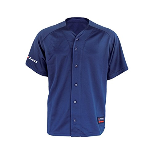 Zeus Herren Kinder Baseball Trikot T-Shirt MAGLIA RUBIN BLAU ROYAL ROT (XS, BLAU) (Baseball-turnier)