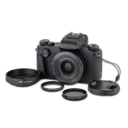 JJC 4 Pezzo Kit per Paraluce per Fotocamera Digitale Canon PowerShot G1X Mark III Metallo Lega di Alluminio Paraluce MCUV & CPL Filtri Copriobiettivo