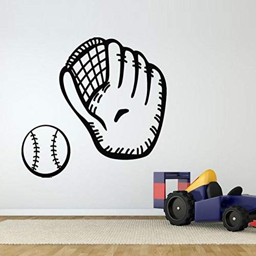 Aizaixinli Baseball Handschuhe Muster Vinyl Wasserdicht Aufkleber Schlafzimmer Junge Hobby Kunstwand Vinyl Wandaufkleber Sportraum Aufkleber 61 * 56 Cm -