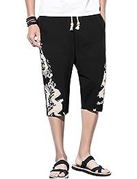Zhhlinyuan Pantalones Cortos para Hombres Pantalon Lino Cintura Elástica Pantalones  Cortos Deportivos Regular-Fit( bc5048a7ef76