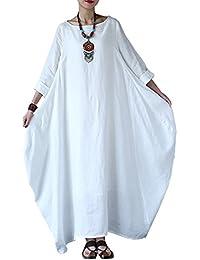 Carolilly Robe Maxi Longue Femme Grande Taille Ample Style Boho Manches 3/4