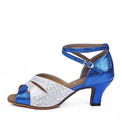 Wxmddn Ladies'scarpe balletti scarpe danza scarpe tango ginnastica danza jazz scarpe danza allenatori scarpe pratica performance Dance scarpe per ragazze donne Argento blu 5.5cm esterno