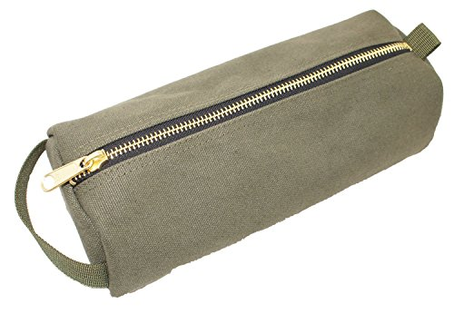 Rough Enough Highly Heavy Canvas Military Classic Small Tool Pencil Case Pouch, Tela, Stone Black, 9.1 X 4 X 2.5 inches Army Green
