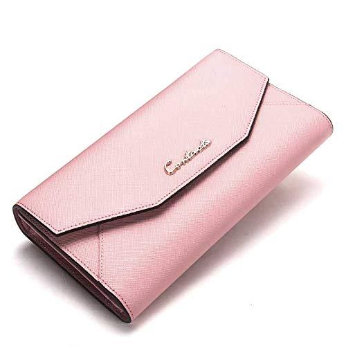 Lcdy portafoglio donna nuovo clutch cross grain in pelle cravatta portafoglio cellulare multifunzionale porta carte lungo in pelle clutch moda casual,pink,20 * 3 * 10cm