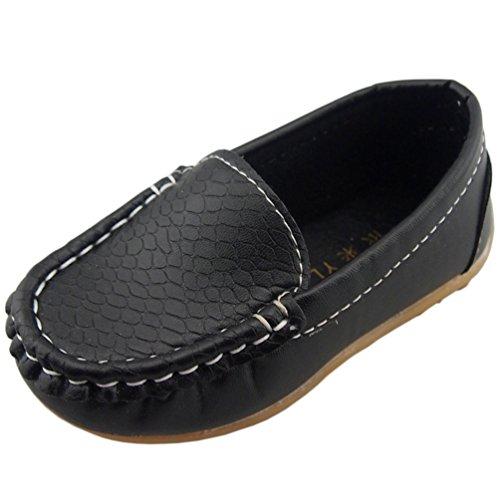 PPXID Boys Girls Soft Footwear Slip-on Loafers Oxford Shoes-Black 10 UK Size