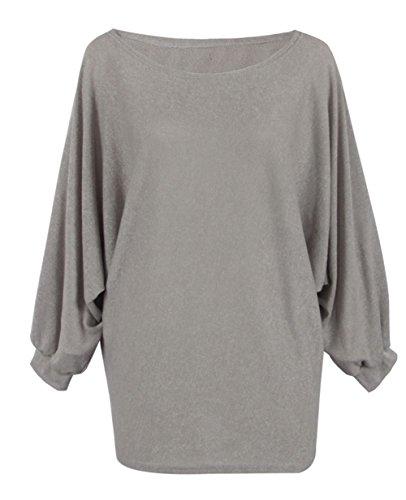 ALAIX Donne girocollo oversize Batwing lavorato a maglia pullover superiore allentato maglione ponticello Grigio
