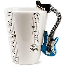 Guitarra Taza de Café Hecho a Mano 8oz Azul (10cm x 8cm)