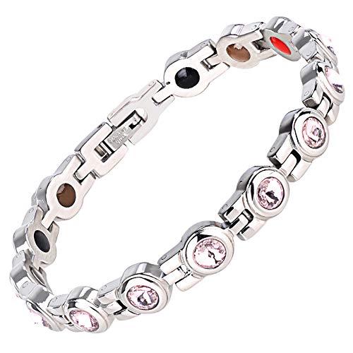 ZSML Damen-magnetarmband, Silber-Finish Natürliche Schmerzlinderungstherapie Durch Magnetische Armbänder - Mit Werkzeug Und Geschenkbox Entfernen,Pink -