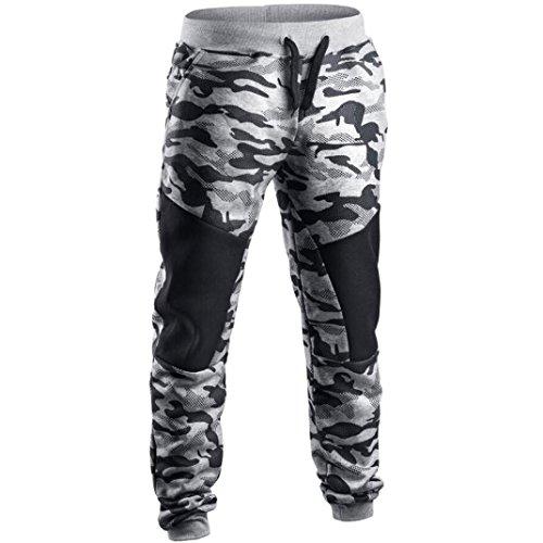 Herren Frühling Camouflage Sporthose Casual Patchwork Hosen Jogginghosen Hose (M, A)