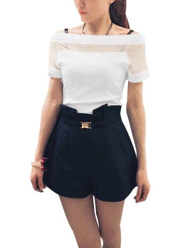 Lady à col bateau et manches courtes en tricot fin avec motif Patchwork Blanc - Blanc
