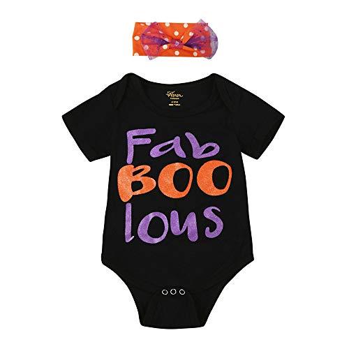 Oyedens Baby Unisex Strampler, Kostüm Kleinkind Jungehalloween Body + Buchstaben Gedruckt Pailletten Bogen Haarband Fab Boo Lous Baby Kleinkind Spielanzug Overall