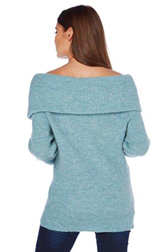 Roman Originals Femmes Pull en Tricot Épais de Style Bardot Bleu Acier Steel Blue