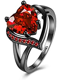 Yellow Chimes Red Heart Ring for Women & Girls