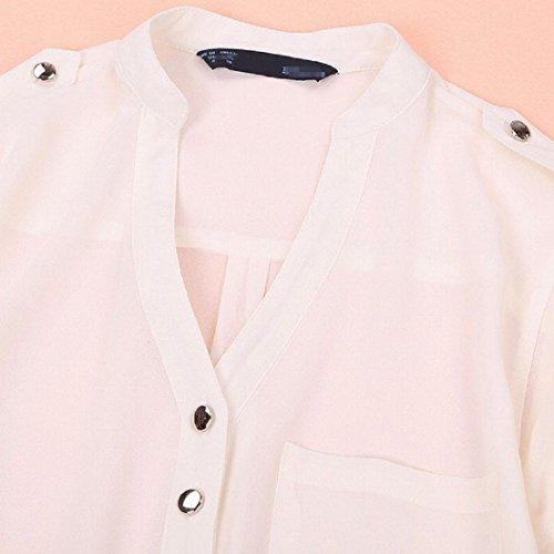 tongshi Donne-Collo a V a maniche lunghe in chiffon Camicia Casual Camicetta Bianco