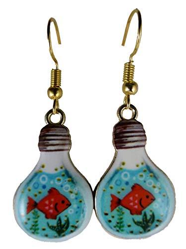 Ohrringe Ohrhänger Hänger Glühbirne Lampe Fisch Aquarium Pflanze Goldfisch Glas 9748 -