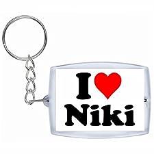 """EXCLUSIVO: Llavero """"I Love Niki"""" en Blanco, una gran idea para un regalo para su pareja, familiares y muchos más! - socios remolques, encantos encantos mochila, bolso, encantos del amor, te, amigos, amantes del amor, accesorio, Amo, Made in Germany."""