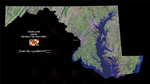 MAP COUNTY SATELLITE USA STATE FLAG MARYLAND DC REPLICA POSTER PRINT PAM1376 - Dc Poster Flag