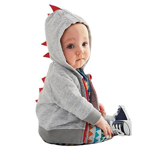 Baby Jacke Btruely Baby Kleinkind Junge Mädchen Winterjacke Kinderjacken Winter Warm Mantel Jacke Dicke Kleidung Winter Dinosaurier Muster mit Kapuze Reißverschluss Sweatshirt (Grau, 100)