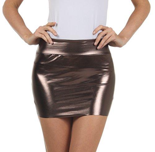 Sakkas 6924 Frauen Shiny Metallic Liquid Mini-Rock - Zinn - Medium (Leinen Rock Spandex)