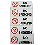 Platinum Place 5 x No Smoking Stickers-COLOUR-80x30mm-Health and Safety,Car,Security,Warehouse,Office,Restaurant,Cafe,Work,Taxi,Mini Cab,Coach,Minibus Signs