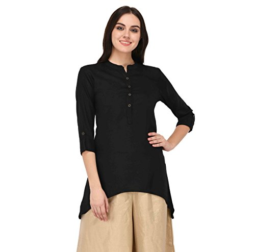 Pistaa Black Solid High Low Hem Short Kurti with Plus Size