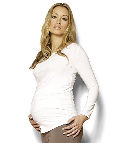 Lang Sleeve Maternity T-Shirt von Picchu. Erhältlich in schwarz & weiß, Made in Premium Qualität Jersey Stoff. Ruching für schmeichelnde Passform. getragen werden kann von 0–9Monate. Gr. 46, weiß (Sleeve T-shirt Maternity)