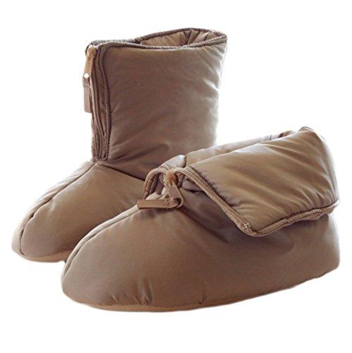Fortuning's JDS Unisexe Adultes Confortable Matelassé Maison Chaussures agréable forme plate fermeture éclair Emballage Chaussons Tenue d'intérieur Marron
