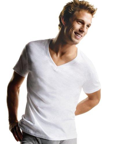 hanes-camiseta-de-cuello-de-pico-camisetas-color-blanco