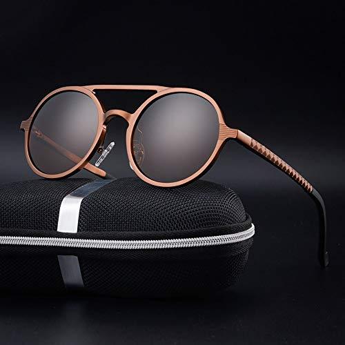 Honneury Herren Vintage Runde Mode Sonnenbrillen, polarisierte Al-Mg-Gläser, Sonnenbrille Fahren (Farbe : Braun)