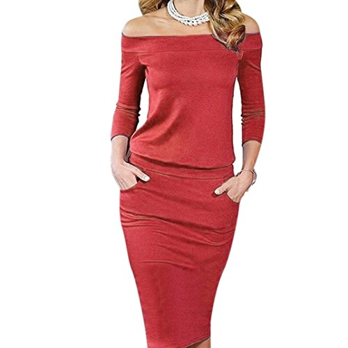 Ularma Damen Elegant einteilige trägerlos Kleid A-Linie Tankinis  Strandkleid Abendkelid Bodysuit Rot