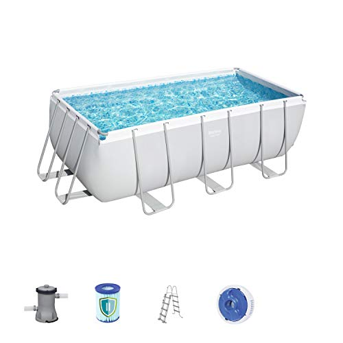 Bestway Power Steel Rectangular Pool Set 412 x 201 x 122 cm Telaio in Acciaio Pool Set con Pompa Filtro e Accessori